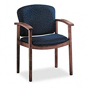 Hon 2111 Invitation Reception Series Wood Guest Chair Mahogany Solid Blue Fabric Product