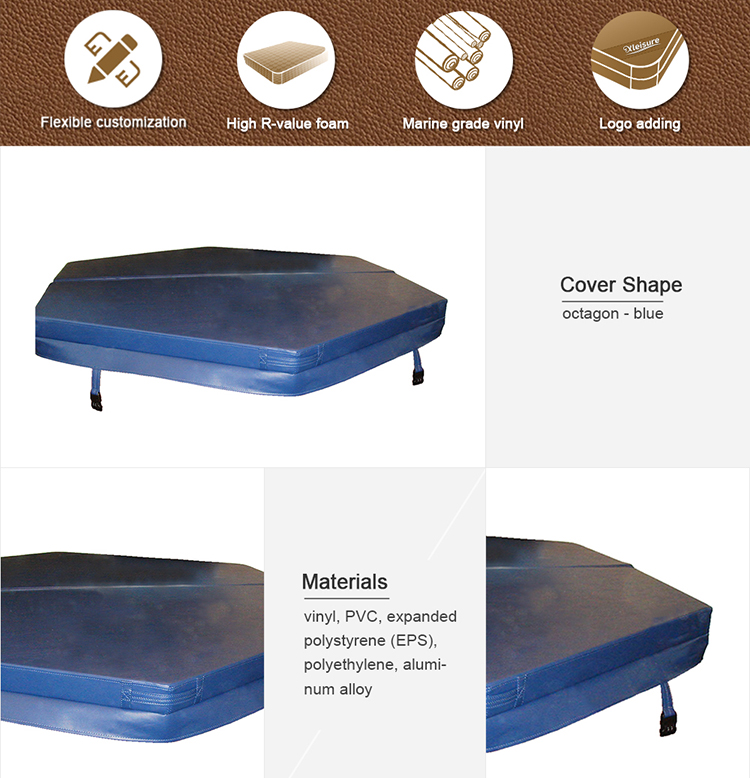 portable inflatable spa hot tub air bubble spa Bestway Mspa Softub Intex PureSpa - octagon inflatable spa cover - dark brown