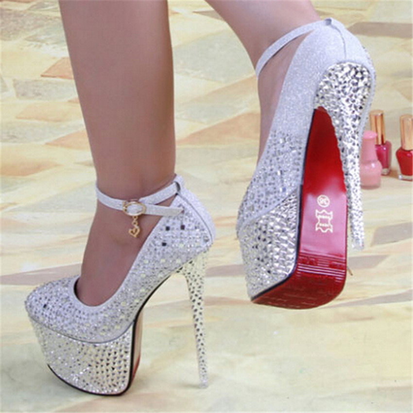 Bridal Shoes Silver: 2014 New Arrive Women's Pumps 16cm Red Bottom High Heels