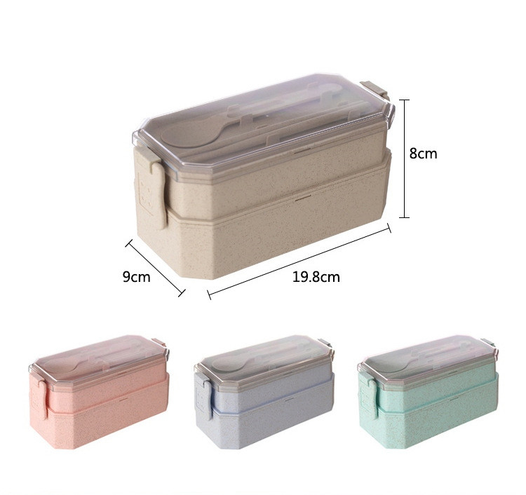 Practical Factory Made 2 Layers Lunch Box Wheat Straw Biodegradable Bento Lunch Box