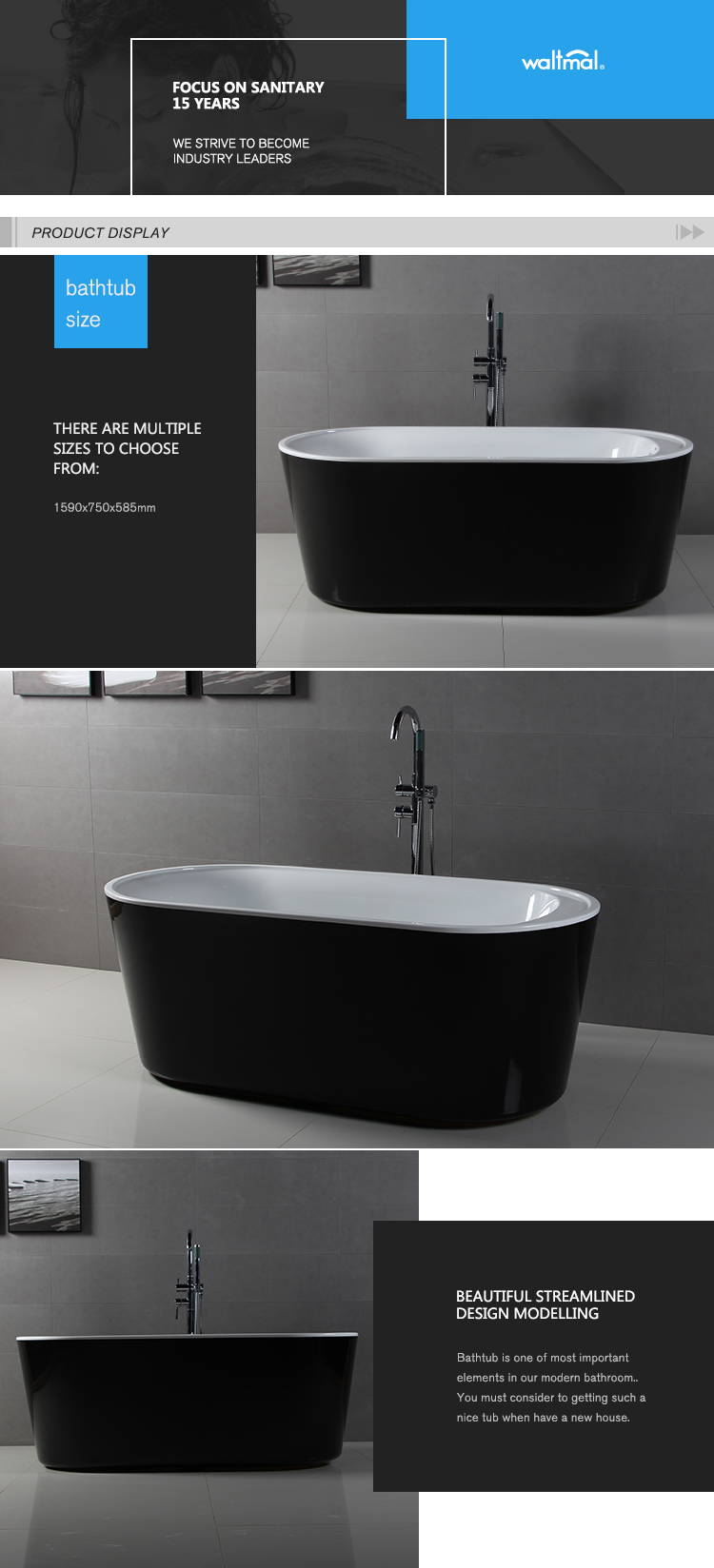 oval with faucet cupc freestanding black and white bathtub