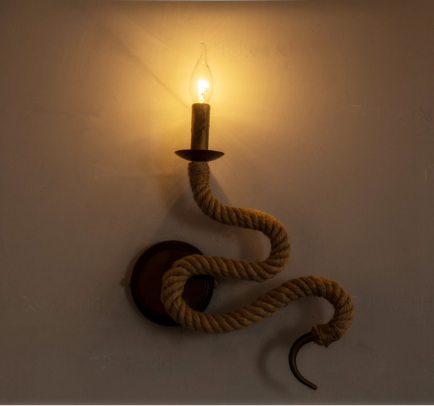Decorative Antique Hemp Rope Vintage Wall Lamp With Snake