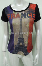 Eiffel Tower printing custom design t shirt/girls cotton t shirt/women apparel