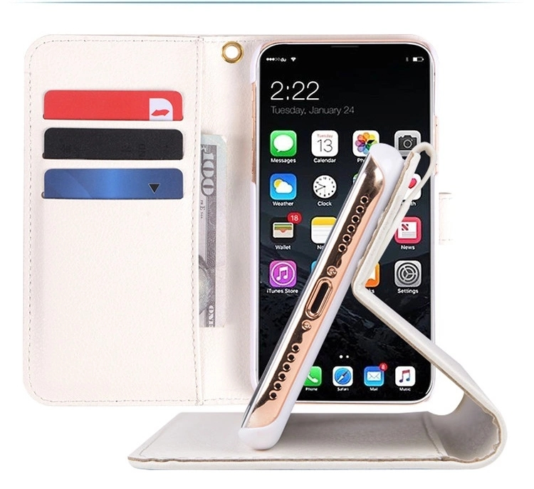 2018 Hot Selling Wholesale Leather Mobile Phone <strong>Case</strong> for iPhone 8 With 3 Card Slots