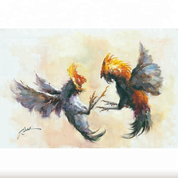 Modern High Quality Home Decor Fighting Cocks Canvas Oil Painting
