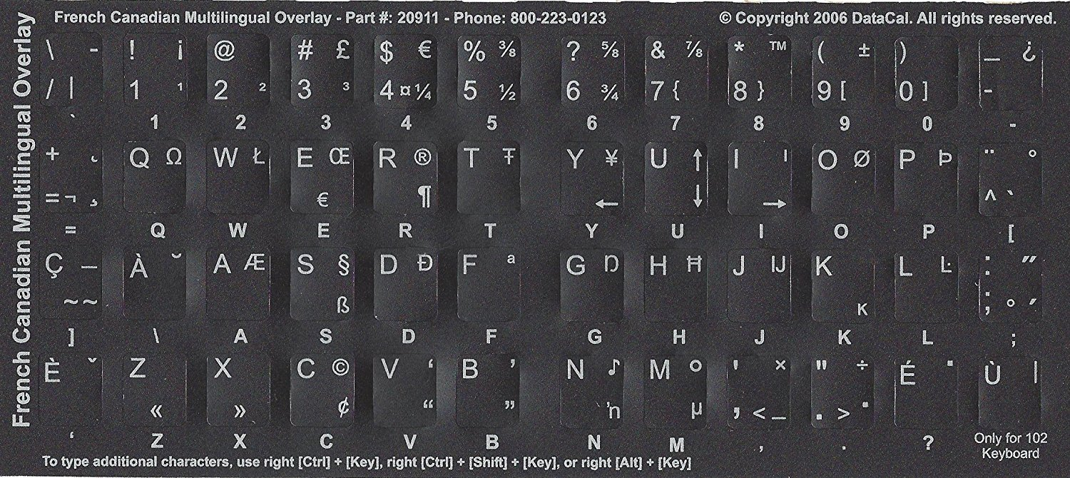 470cfcab1ff Get Quotations · Black Non-transparent Canadian-French Multilingual Characters  Keyboard Stickers Labels Overlays - QWERTY -