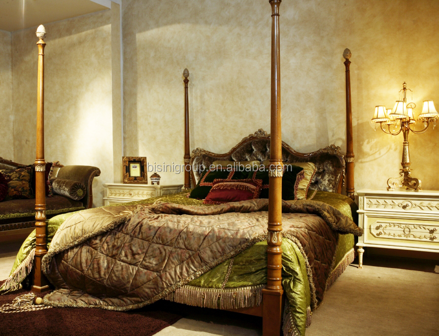luxury noble italian four poster bed custom royal carved solid wood bedroom furniture set bf11