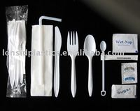 Disposable Plastic Cutlery Kit, Disposable Plastic Cutlery Set, Spoon, Fork, Knife, Sugar, Cream, Napkin, Toothpick