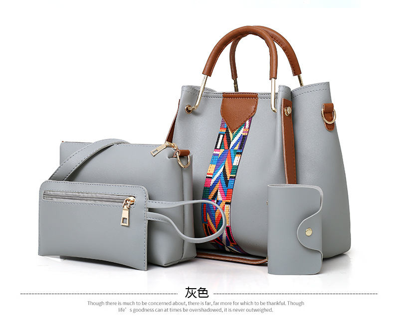 DLB023 China high quality pu leather four pieces lady handbag sets travel tote luxury women bag