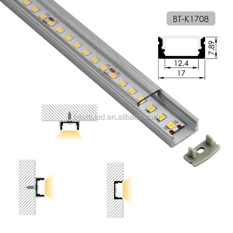 Good Price anodized silver finish W17*H8mm milk white aluminium profile for led strips