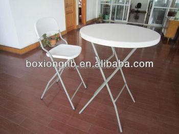 Round Granite White Plastic Bar Height Folding Table