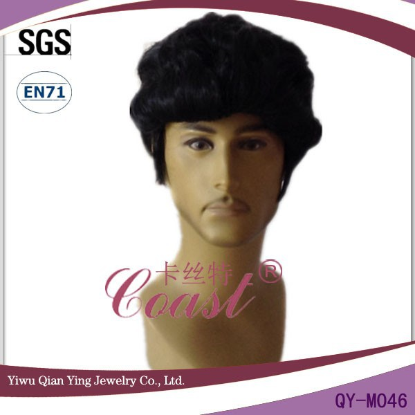 short black curly elivs mens synthetic wig