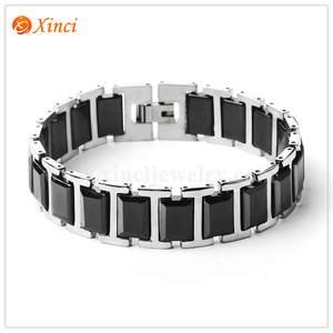 Power Ionics Healthy Mens Silver Black White Ceramic Stainless Steel Wide Bracelet Band