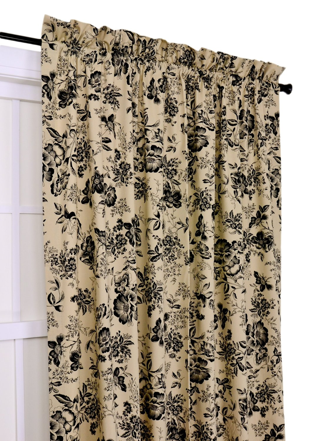 Ellis Curtain Palmer Floral Toile 50-Inch-by-63-Inch Tailored Panel, Black