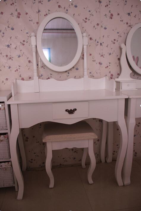 מאוד עץ שולחן איפור עם מראה ושרפרף, איפור שידה, ריהוט לחדר שינה-שידות XL-41