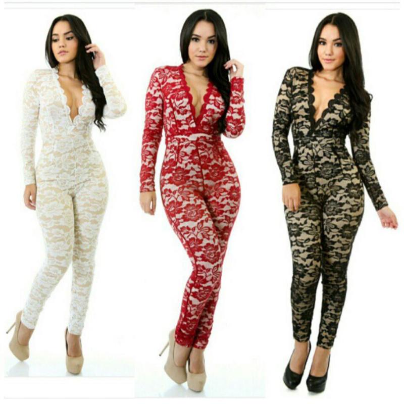 76f0de0c8d8869 Großhandels-Herbst-volle Spitze Stretch Body tiefem V-Ausschnitt,  figurbetontes Long Sleeve Jumpsuits Sexy Frauen Weiß / Schwarz / Rot  Bodysuit ...