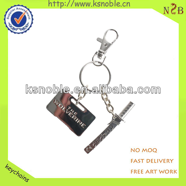 Double knife promotional keychain metal handicraft