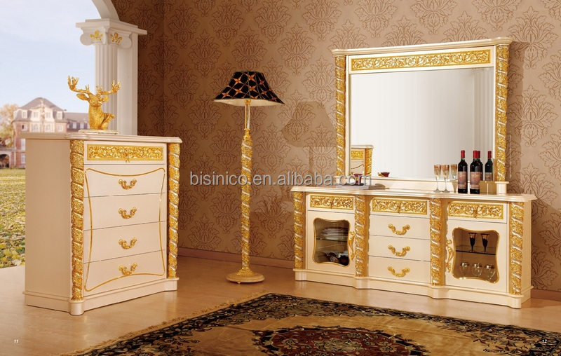 New Item Bedroom Furniture Gold White Luxury Bedroom SetMOQ - White and gold bedroom furniture