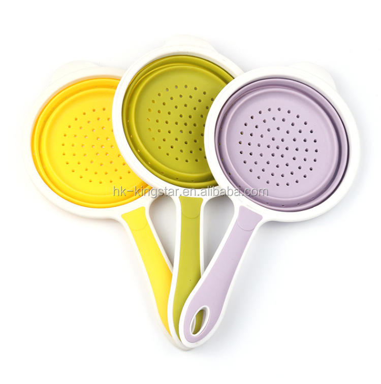 New arrival Amazon Hot Sale silicone foldable Colander smart Strainer Set