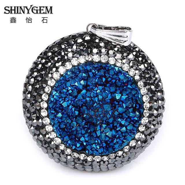 China agate and crystal beads pendants wholesale alibaba rhinestone titanium colors natural crystal agates druzy pendant bead round druzy bead charm jewelry mozeypictures Gallery