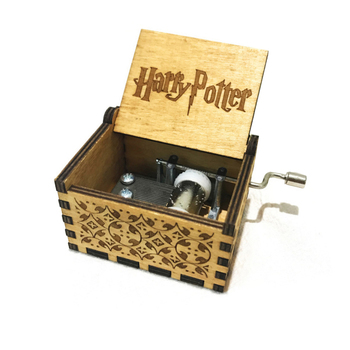 Hot Sale Custom Engraved Hand Cranked Wooden Music Harry Potter Mini Wood Music Box For Valentine Day
