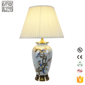 Chinese wholesale home decoration porcelain decorative american style hotel restaurant bed side mosaic ceramic table lamp modern