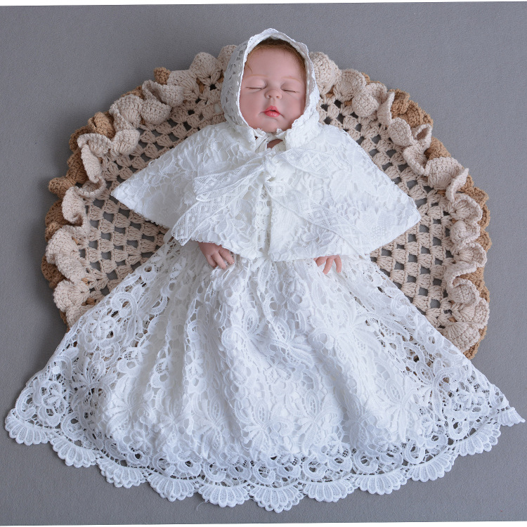 Factory directly sale  0-2 years  girl christening   party gown lace dress  with hat