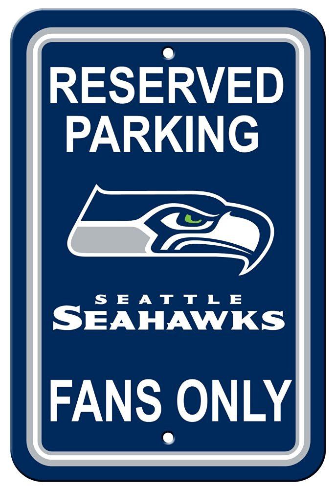 NFL Seattle Seahawks Plastic Parking Sign - Reserved Parking Wall Sign 12 x 18in