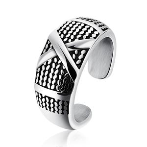 Custom logo fashion jewelry mens adjustable stainless steel open silver cross ring