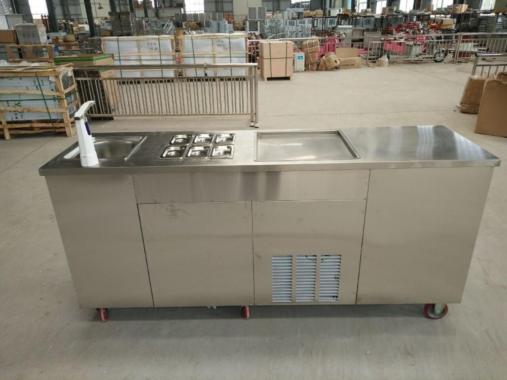 HTB1Z9.zXLc3T1VjSZLeq6zZsVXaq - 2019 New style Single Round Pan With sink and refrigerator  business fried  ice cream rolls machine