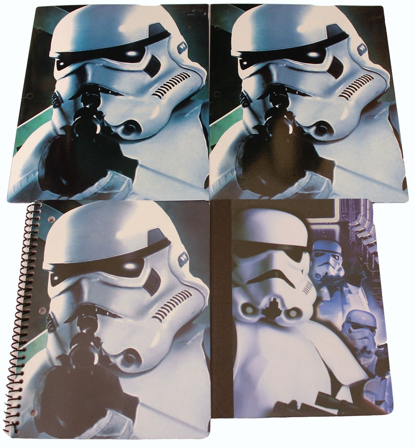 Star Wars Back to School Classroom Supply Bundle for Elementary through College Students: 1 Composition Notebook, 1 Spiral Notebook & 2 Pocket Folders (Blue Stormtrooper On Duty)