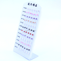 36pairs Set Fashion Jewelry 5mm Shining Exquisite Round Zircon Piercing Earring