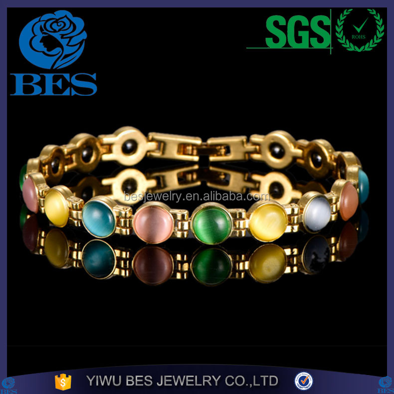 Jewelry Wholesale Colorful Opal Bio Magnet Gold Copper Magnetic Health Bracelet
