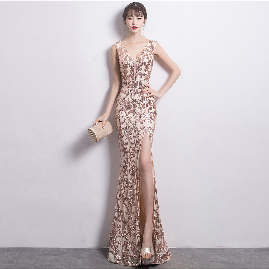 high quality lady girl wedding party sexy  new fashion evening dress