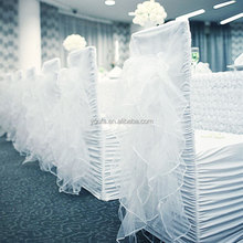 China supplier factory price chair decorations white wedding banquet spandex ruffle curly willow chair sash