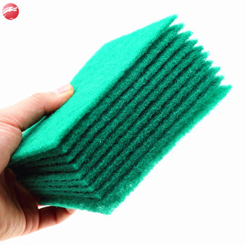 5pcs/card abrasive heavy-duty cleaning pot dishes washing green nylon scouring pad