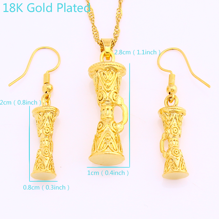 JH New Arrival 금 Plated 18 천개 드럼 Earring 및 펜 던 트 Fashion Jewelry Set