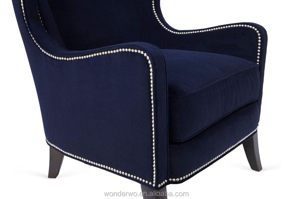 Elegant Dempsey Wingback Chair, Navy, Armchair Alibaba Furniture