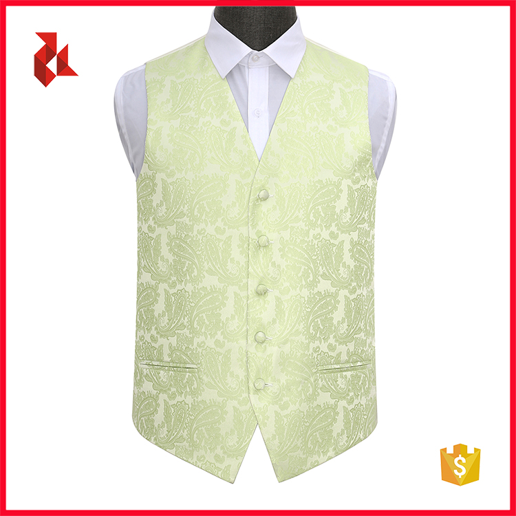 Formal 100% Polyester Paisley Waistcoat Mens Floral Vest