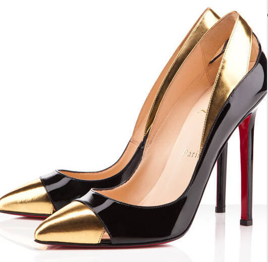 82b89e6ea91 Get Quotations · Graceful Pointed Gold Toe Party Shoes 2015 Thin High Heels  Slip-on Shoes Women Leather