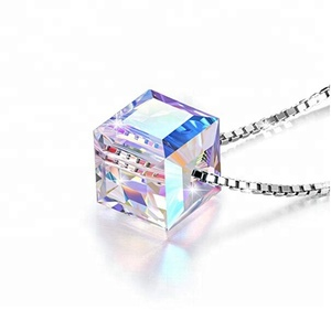 Colorful Crystal Pendant Necklace 925 Sterling Silver Necklace Jewelry For Women With 8mm Cube Crystal Color Changing