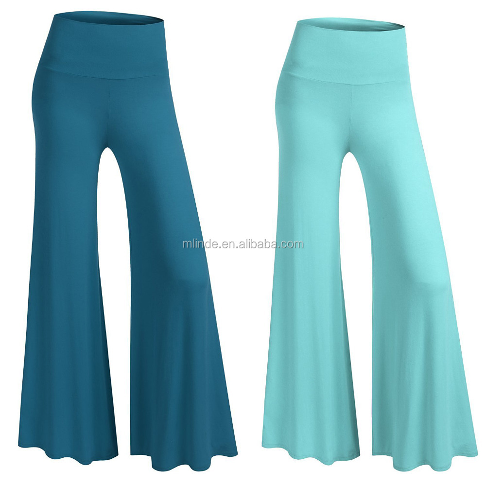 New Fashion Cheap Wholesale Custom Clothing Manufacturer Women Classic Soft Wide Leg Foldover Band Palazzo Lounge Pants (S-5X)