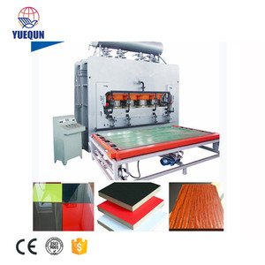Melamine laminating short cycle hot press line for MDF and PB
