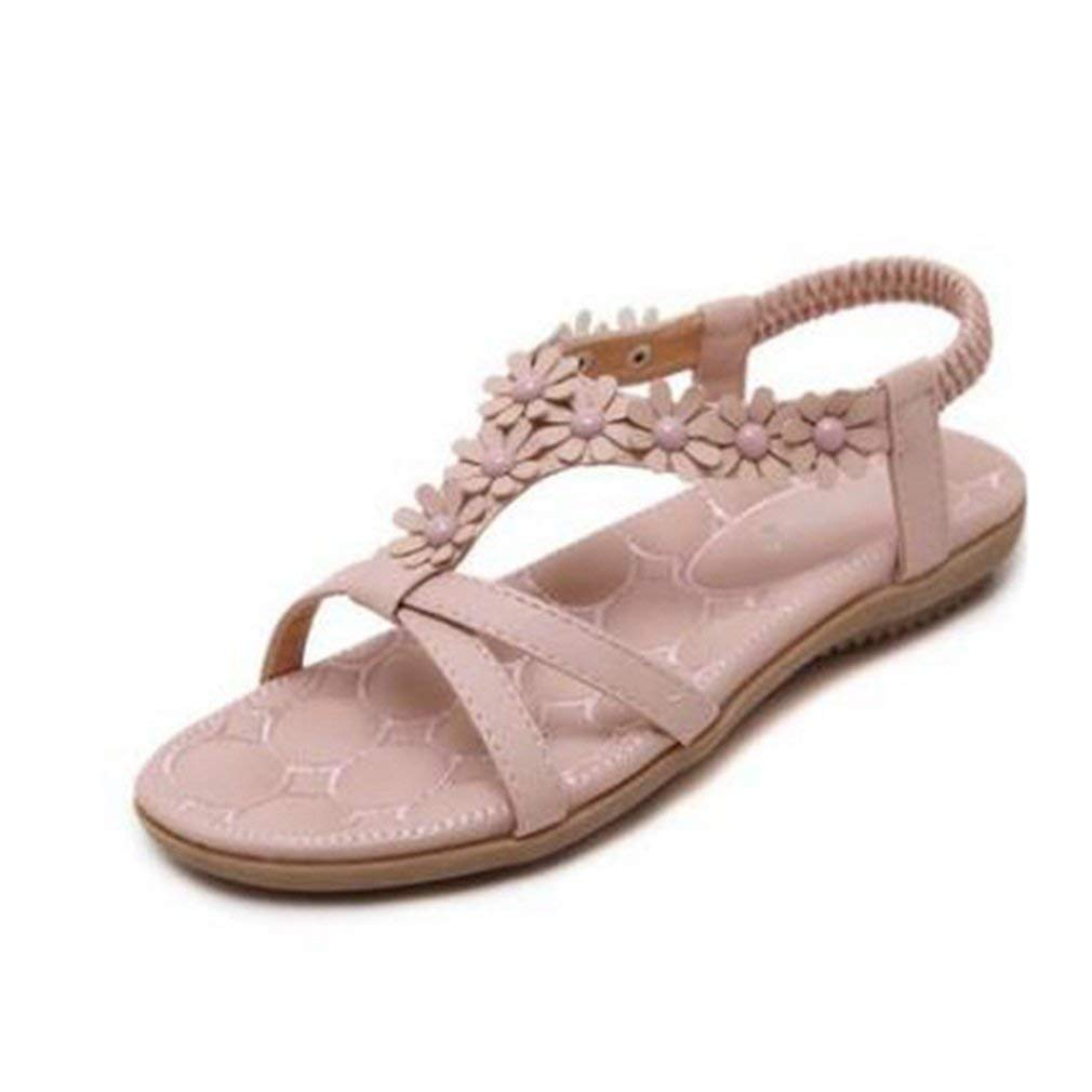 d507282889c8 Get Quotations · GIY Bohemian Flat Open Toe Sandals for Women Flowers Comfort  Platform Elastic Summer Beach Thong Pink