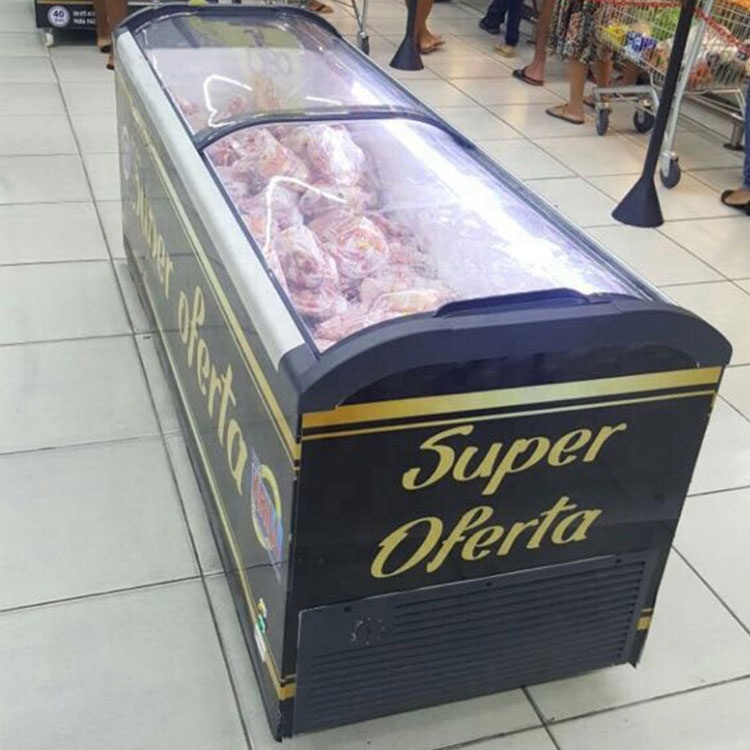 Supermarket Commercial Dual Curved Sliding Glass Door Chest Ice Cream Display Refrigerator Freezer