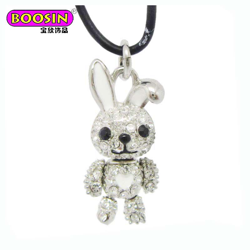 Fashion kawaii matte silver Czech stone Bunny necklace for girls