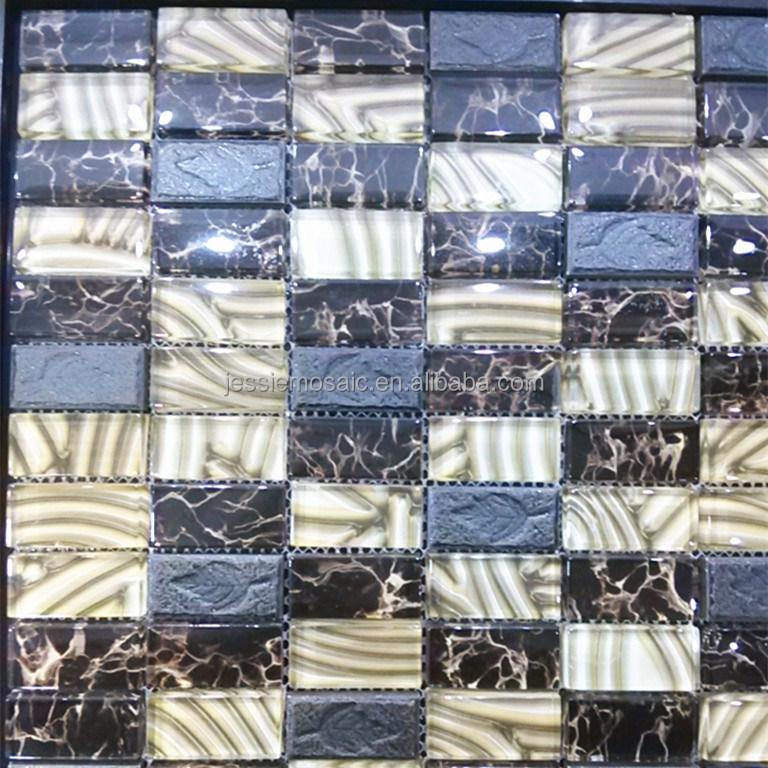 Js blad patroon steen mix kleurrijke glasmozaïek tegel behang ...