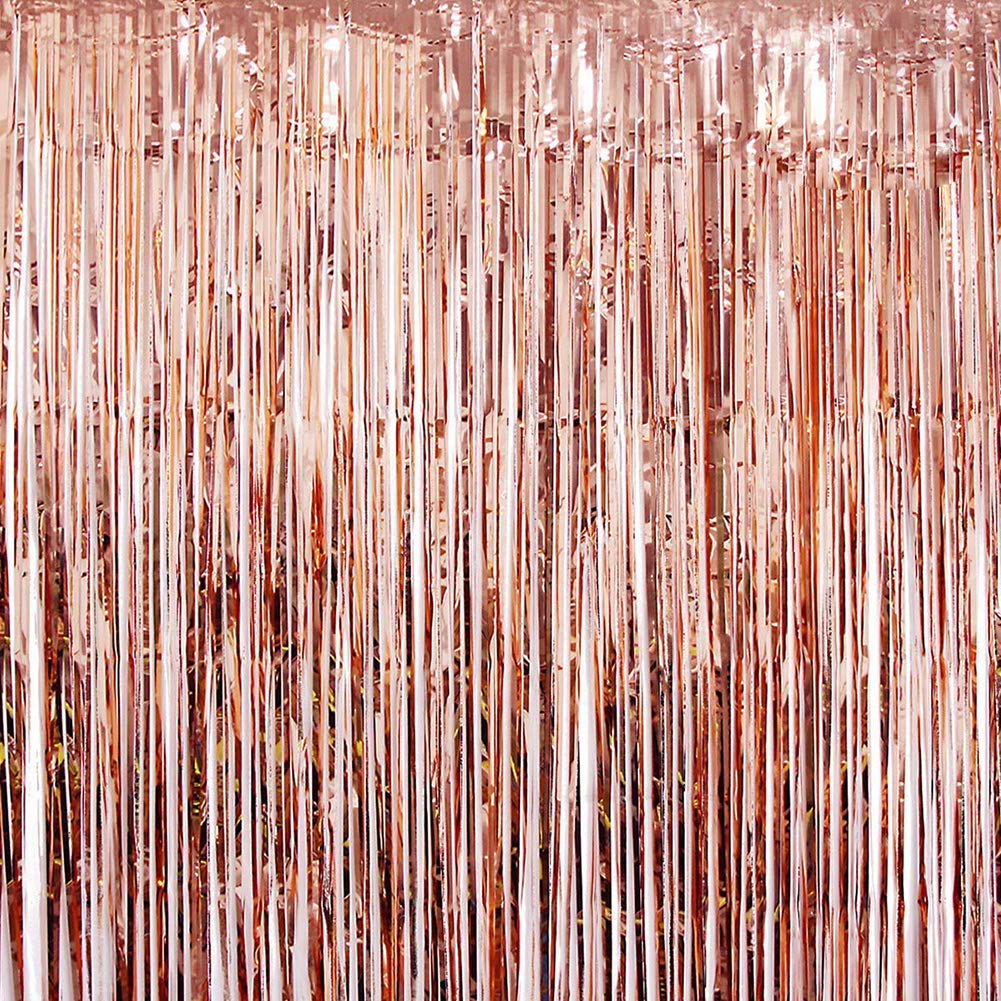 HappyField Rose Gold Foil Fringe Curtains Photo Booth Backdrop Party Door Curtain, 3ft x 8ft Shiny Metallic Tinsel Curtains Bridal Shower/Wedding/Baby Shower/Bachelorette/Hen Party Decorations, 2-Pack