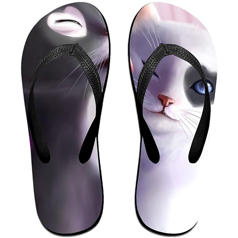 Starmiami Unisex V Flip Flops Artistic Black Love Romantic White Personalized Summer Slipper
