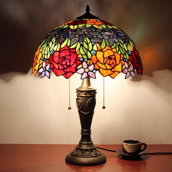 Tiffany 16inch Luxury Table Lamp Shade With Stained Glass From